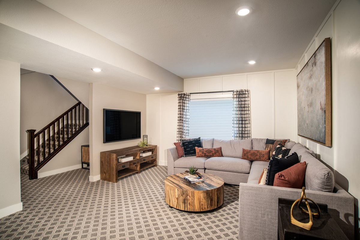 New Homes in Castle Pines, CO - The Canyons - Classic Collection Plan 1923 Finished Basement Media Room