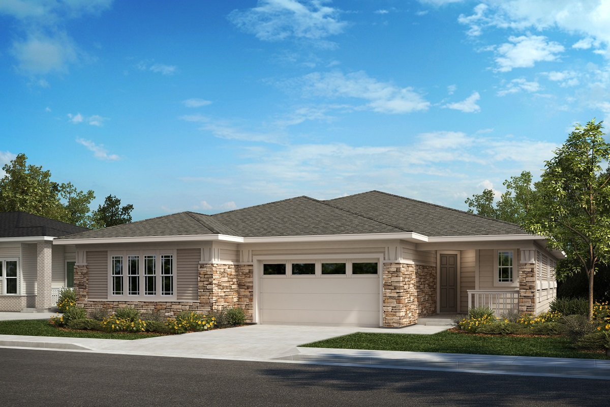 New Homes in Castle Pines, CO - The Canyons - Ranch Villa Collection Plan 1789 - Modern Prairie