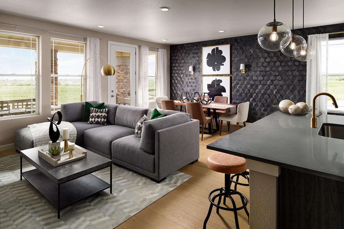 New Homes in Castle Pines, CO - The Canyons - Ranch Villa Collection Aura Great Room