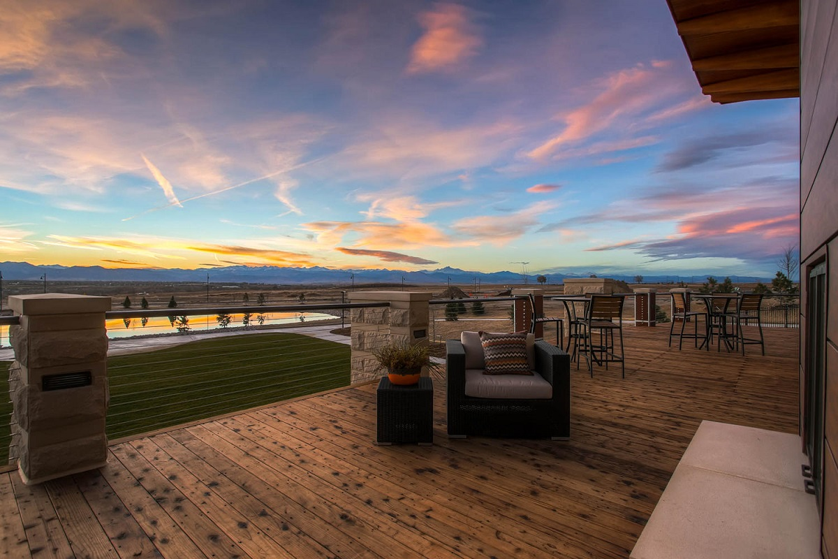 New Homes in Erie, CO - Colliers Hill Villas The Overlook Community Center Deck Overlooking the Pool