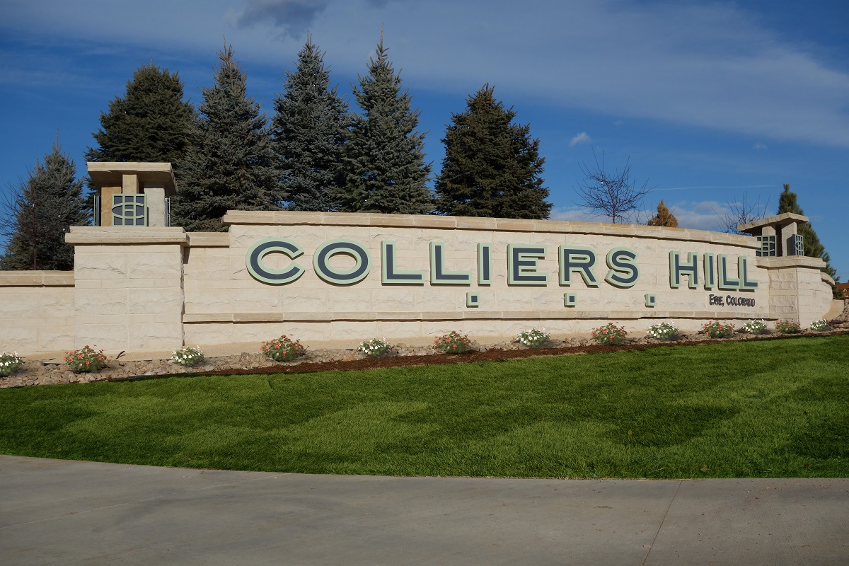 New Homes in Erie, CO - Colliers Hill Villas Community Entry Monument