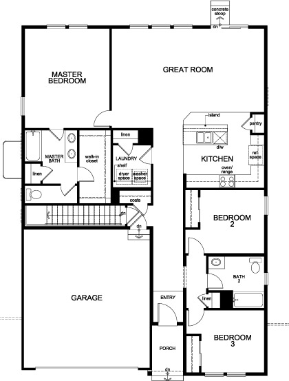 New Homes in Aurora, CO - Plan 1590, First Floor