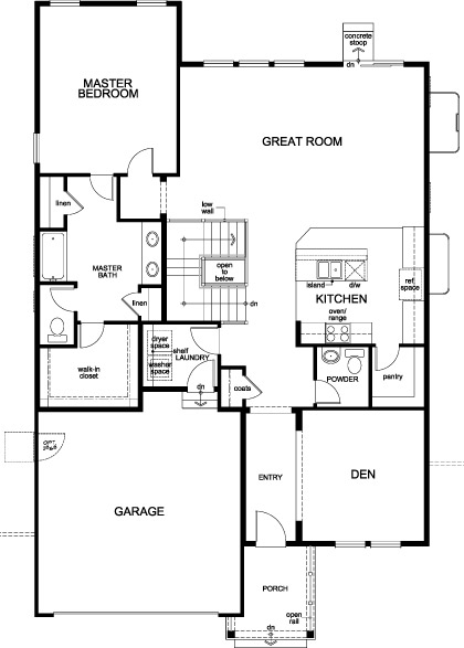 New Homes in Aurora, CO - Plan 1685, First Floor