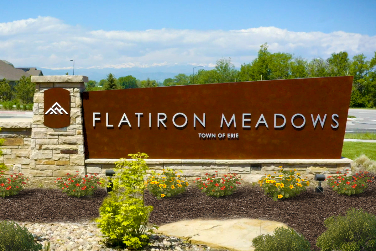 New Homes in Erie, CO - Flatiron Meadows Villas Entry Monument