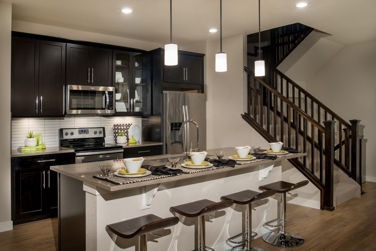 New Homes in Broomfield, CO - Baseline Villas Kitchen as modeled at Highland Villas