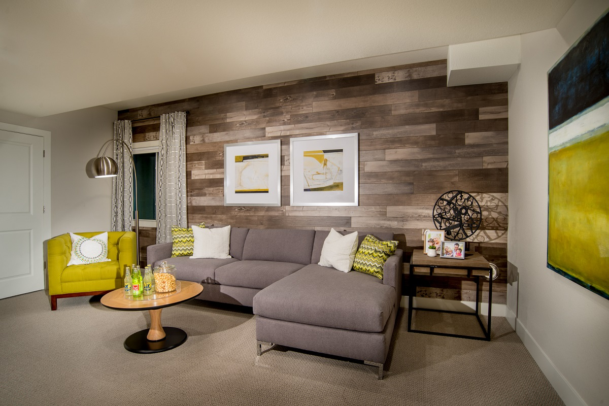 New Homes in Broomfield, CO - Baseline Villas Finished Basement Rec Room as modeled at Highland Villas