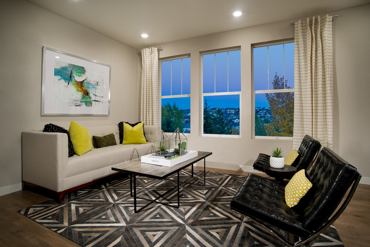 New Homes in Broomfield, CO - Baseline Villas Living Room as modeled at Highland Villas