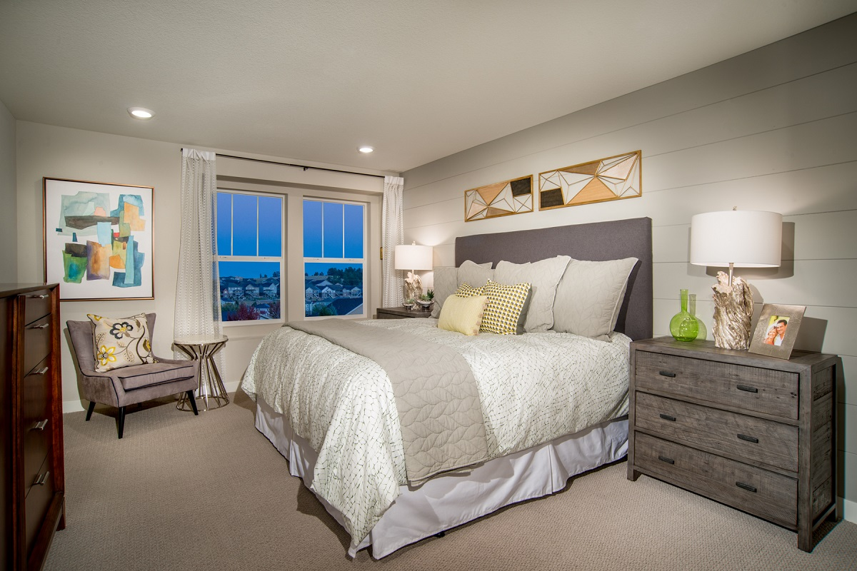 New Homes in Broomfield, CO - Baseline Villas Master Bedroom as modeled at Highland Villas
