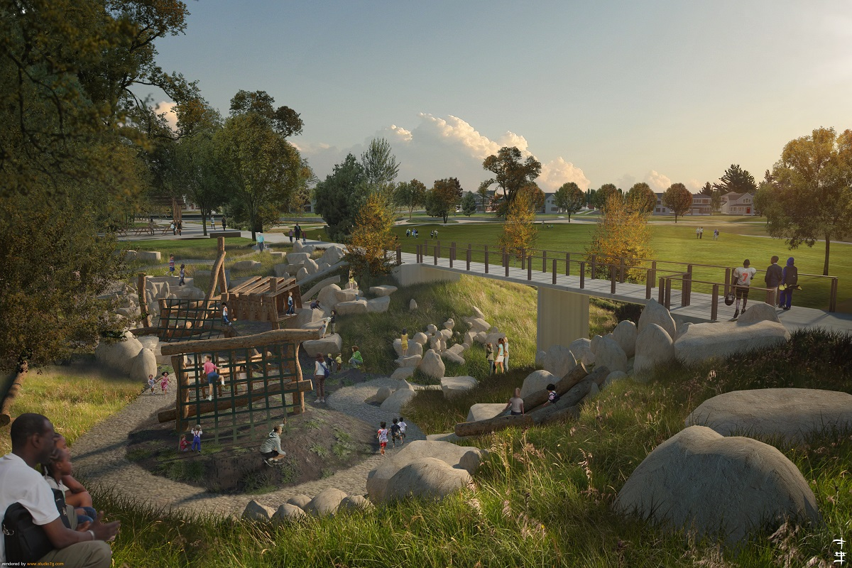 New Homes in Aurora, CO - Painted Prairie Villas Community Playground Rendering