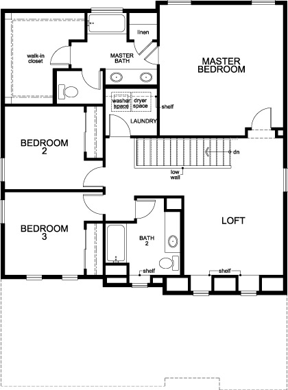 New Homes in Dacono, CO - Plan 2335, Second Floor