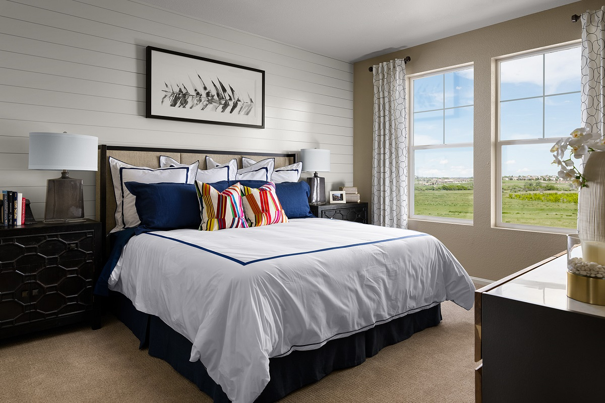 New Homes in Castle Rock, CO - Terrain - Ranch Villa Collection Mural Master Bedroom