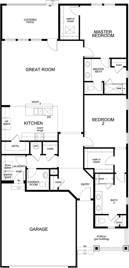 New Homes in Castle Rock, CO - Plan 1689, First Floor