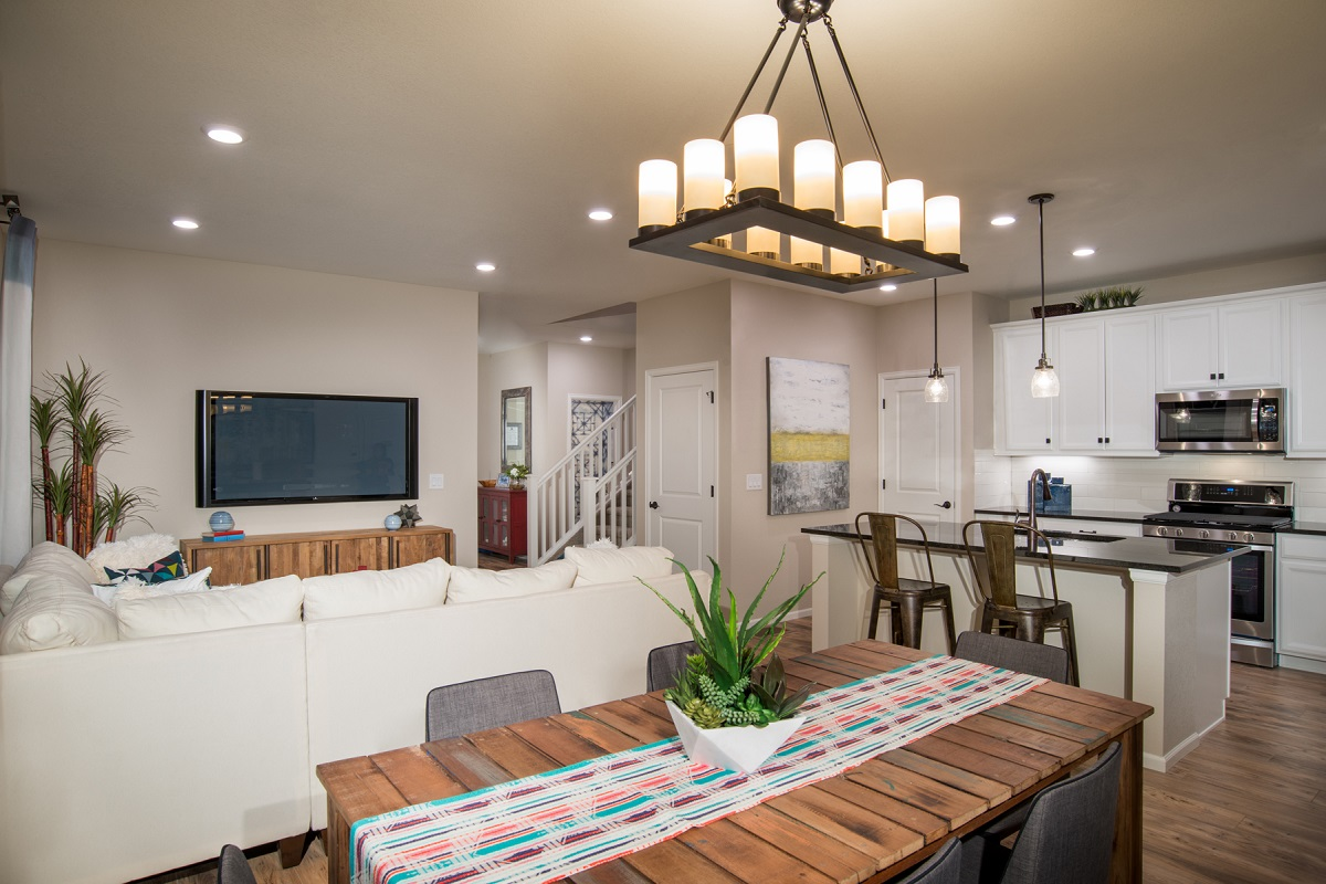 New Homes in Aurora, CO - Copperleaf Villas Redwood Great Room; Dining Area and Kitchen