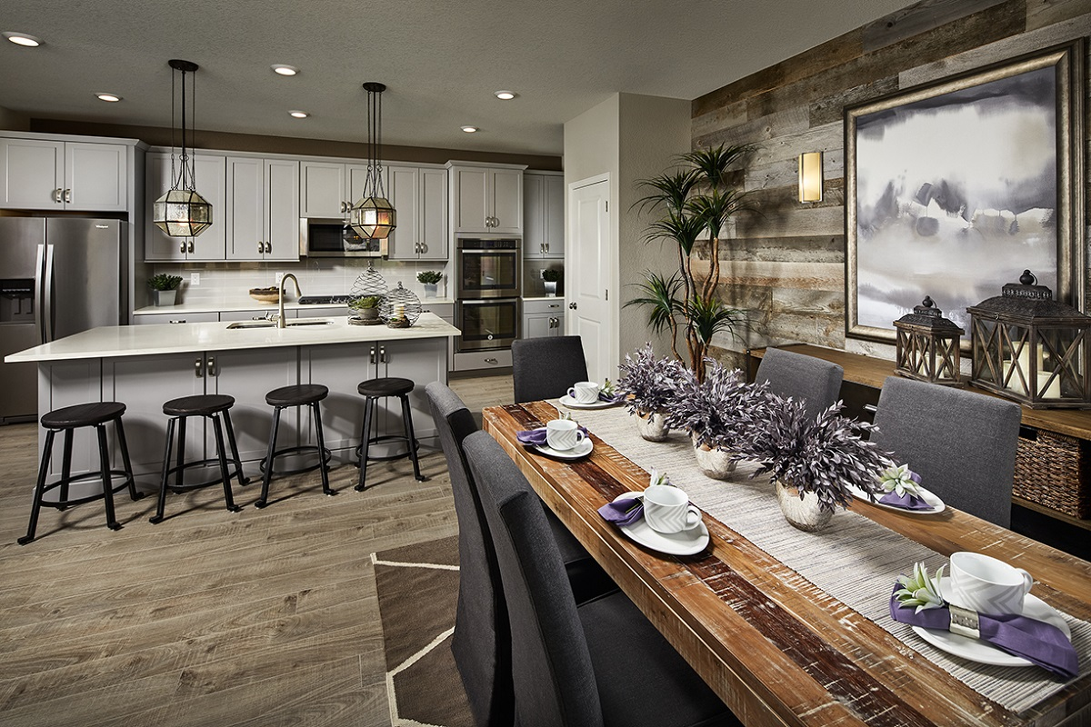 New Homes in Castle Rock, CO - Meadows Villas Plan 1928 Kitchen and Dining Room