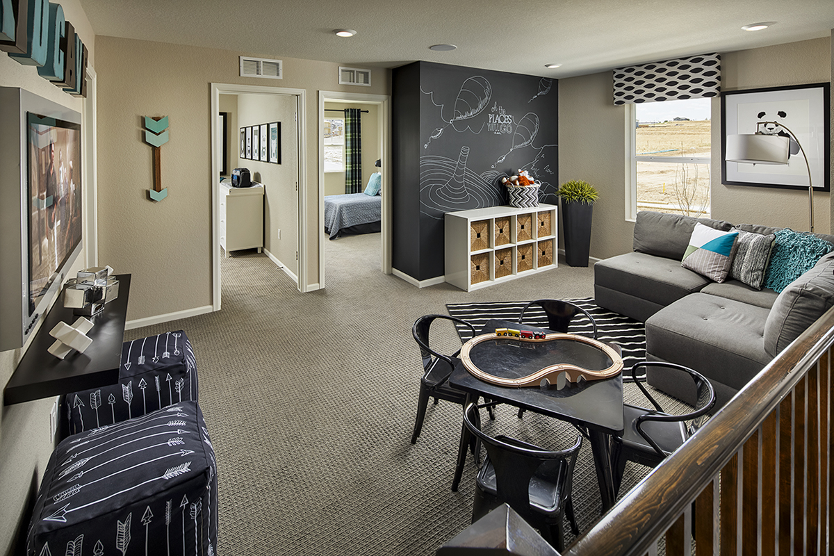 New Homes in Castle Rock, CO - Meadows Villas Plan 1682 Modeled Loft -Game and Media Area