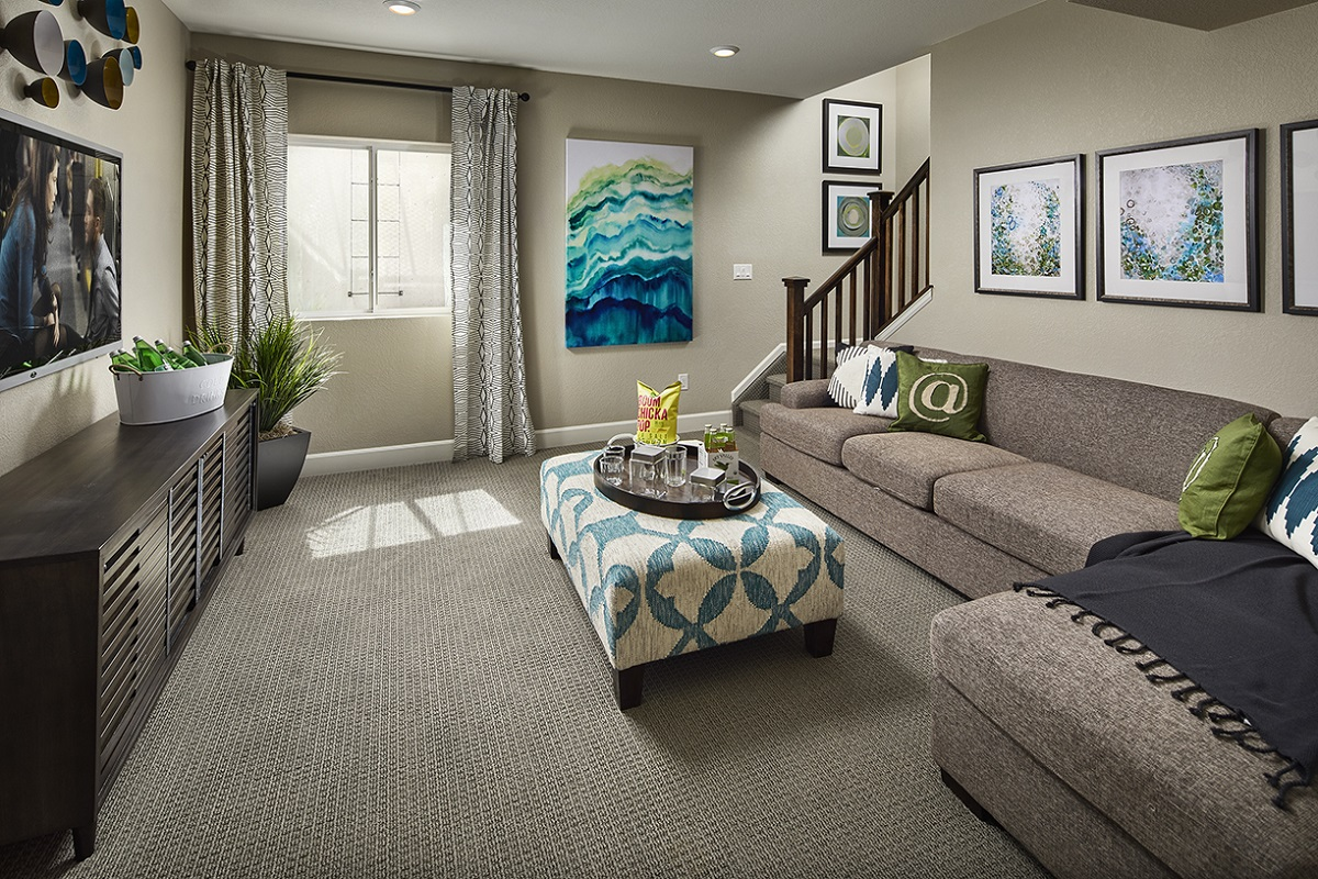 New Homes in Castle Rock, CO - Meadows Villas Plan 1682 Modeled Finished Basement Media Room