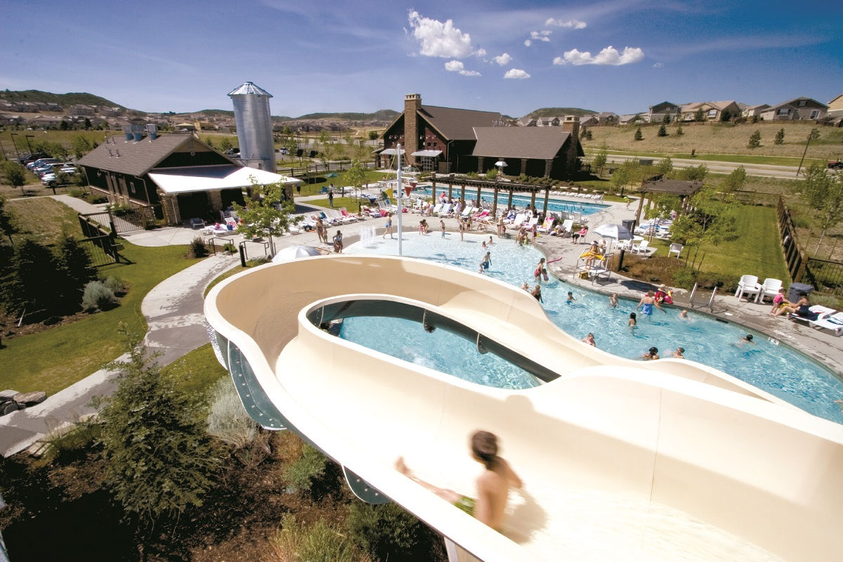 Amenity pool at a KB Home community in Castle Rock, CO