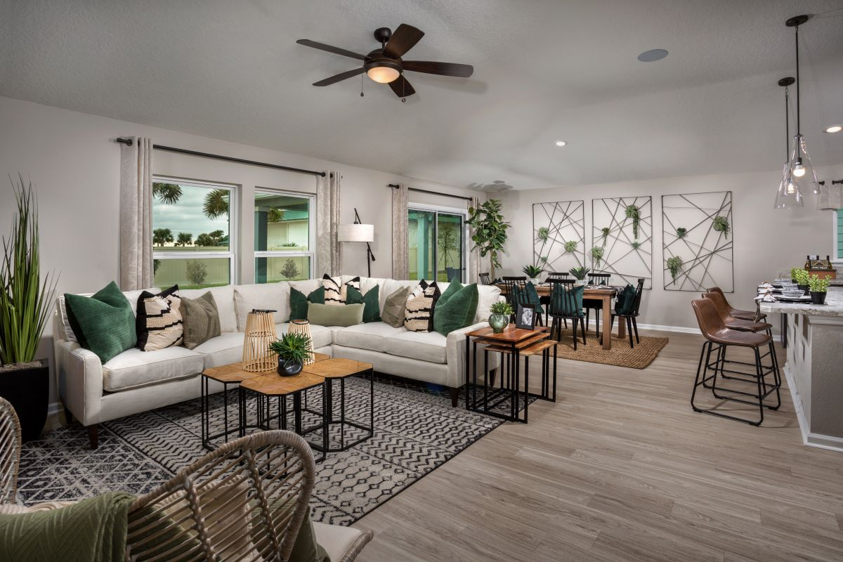 New Homes in Jacksonville, FL - Barrington Cove Plan 1707 Great Room as modeled at Las Casitas