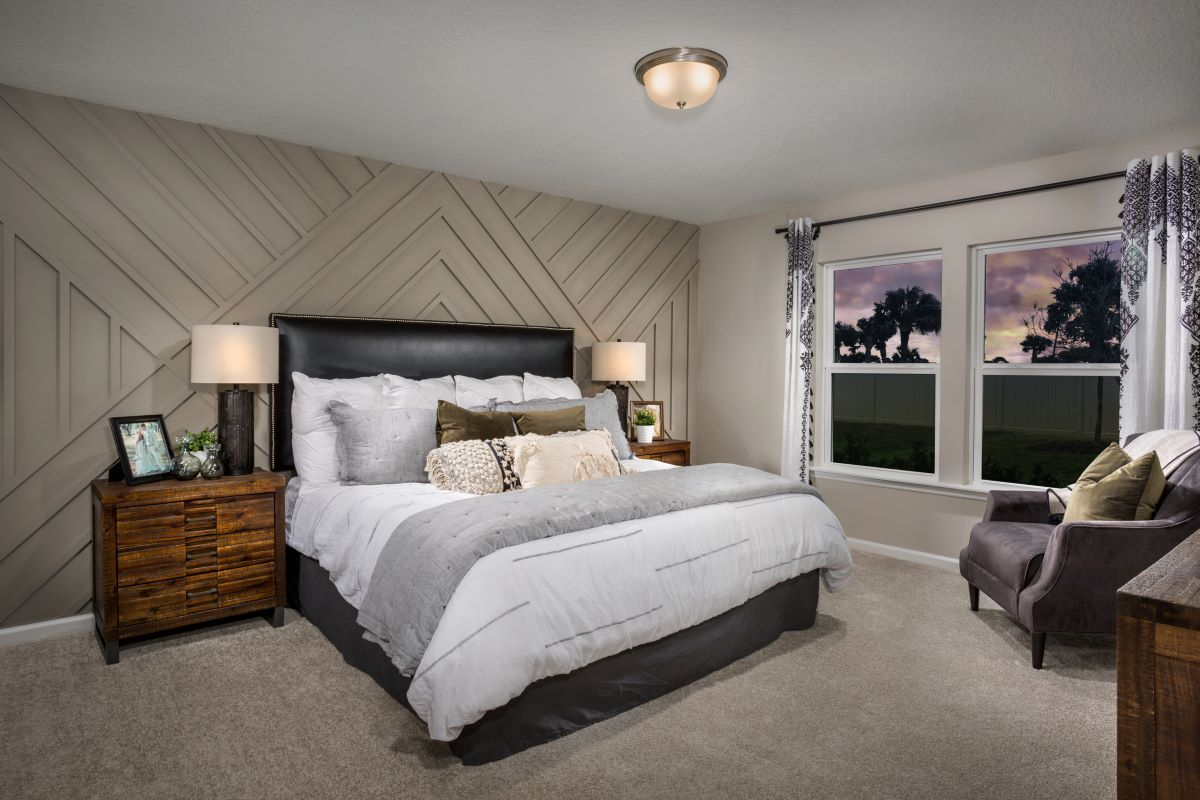 New Homes in Jacksonville, FL - Barrington Cove Plan 1707 Master Bedroom as modeled at Las Casitas