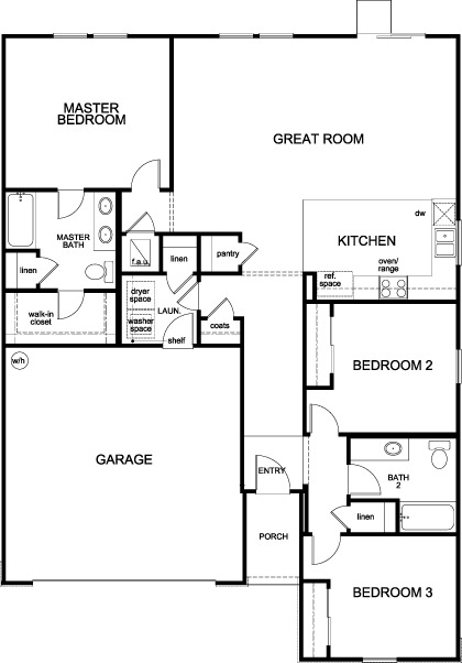 New Homes in Jacksonville, FL - Plan 1541, First Floor