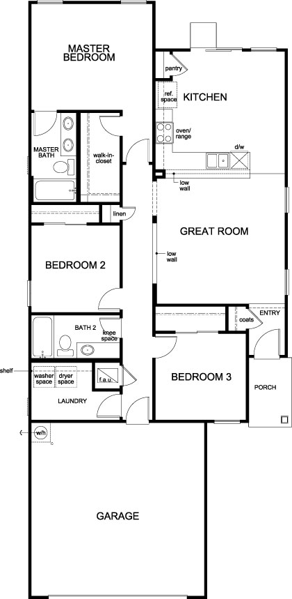 New Homes in Jacksonville, FL - Plan 1342, First Floor