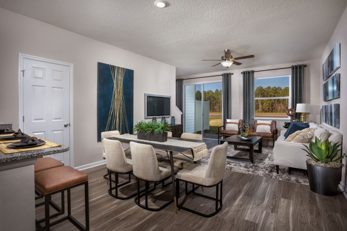 New Homes in Jacksonville, FL - Meadows at Oakleaf Townhomes The Hawkins Great Room