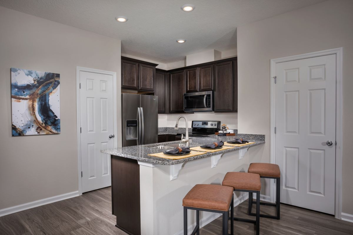 New Homes in Jacksonville, FL - Meadows at Oakleaf Townhomes The Hawkins Kitchen
