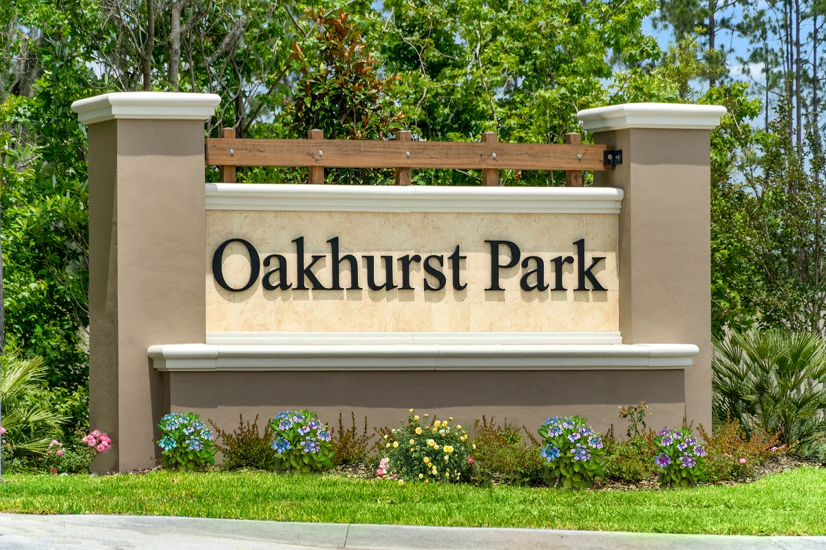 New Homes in Jacksonville, FL - Oakhurst Park Community Entrance