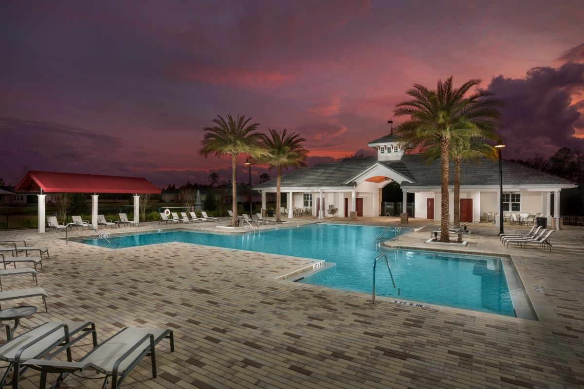 New Homes in Jacksonville, FL - The Preserve at Wells Creek - Classic Series Amenity Center Pool and Clubhouse