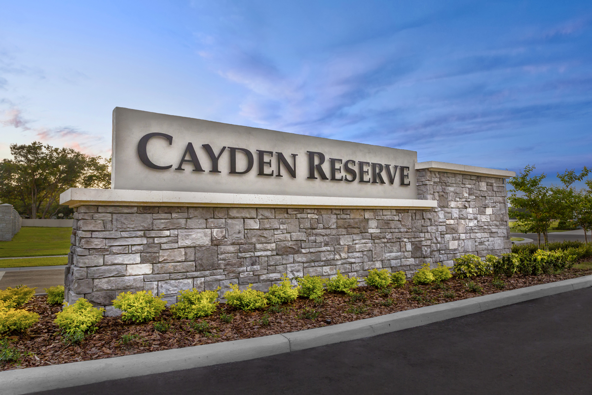 New Homes in Lakeland, FL - Cayden Reserve Community Monument Sign