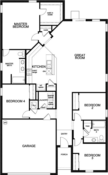 New Homes in Lakeland, FL - Plan 1989, First Floor