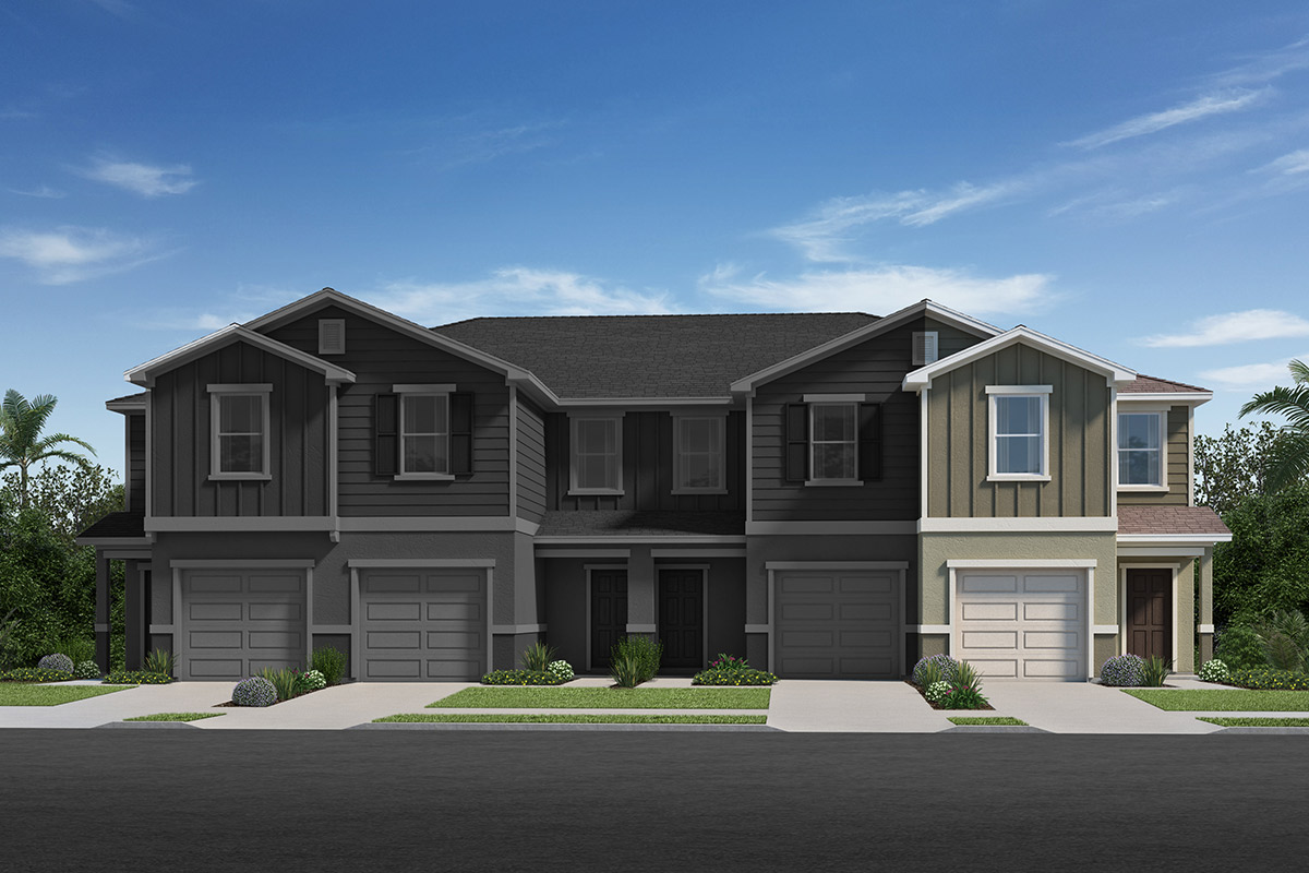 New Homes in Davenport, FL - Mirabella Townhomes Plan 1434 - Elevation C / 4-plex