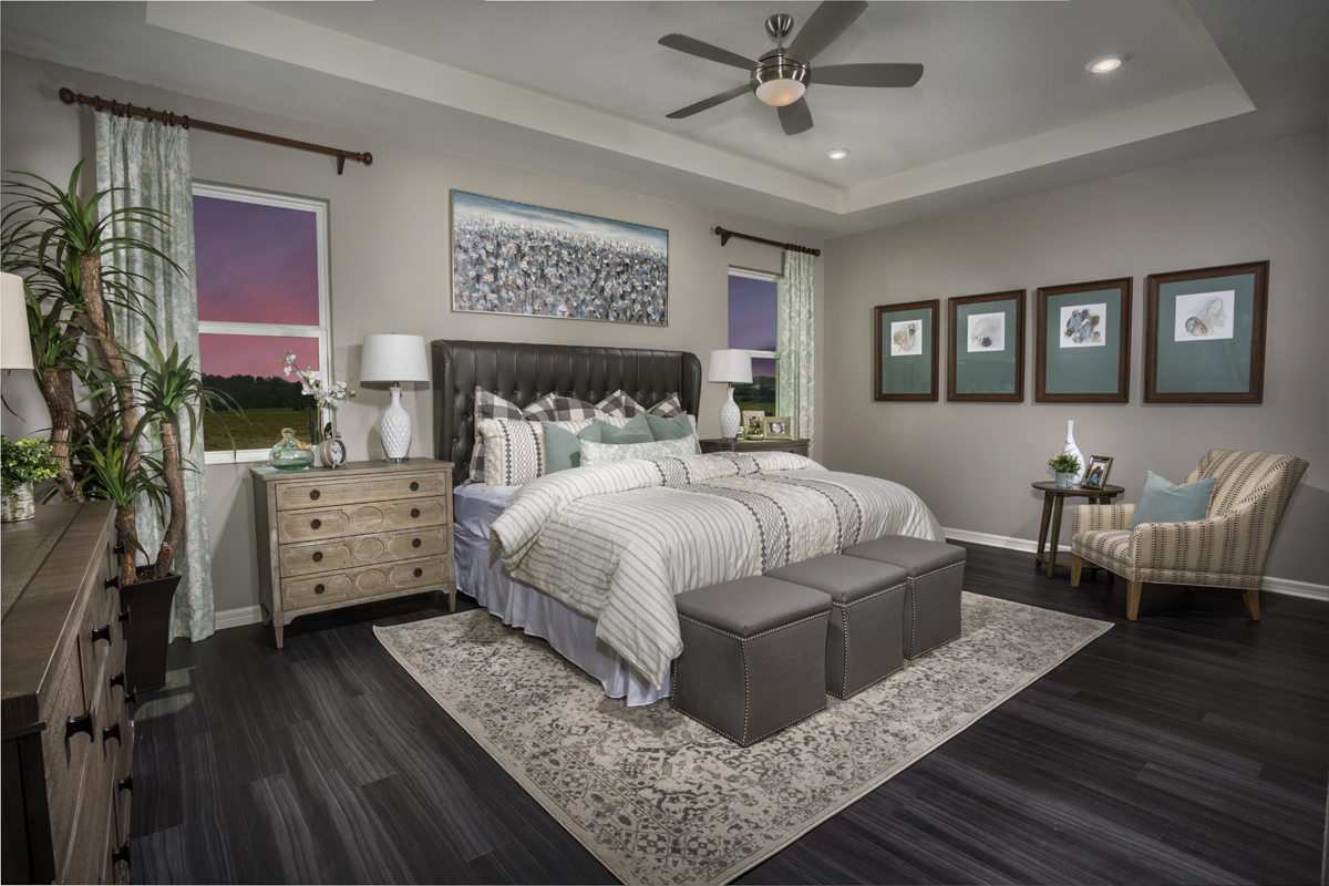 New Homes in Clermont, FL - Lake Minneola Landings 2342 master suite as modeled at Carriage Hill