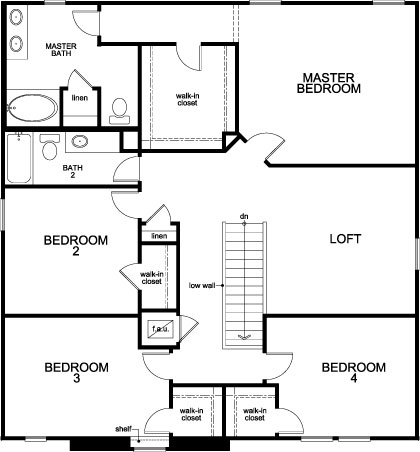 New Homes in Orlando, FL - Plan 2716, Second Floor