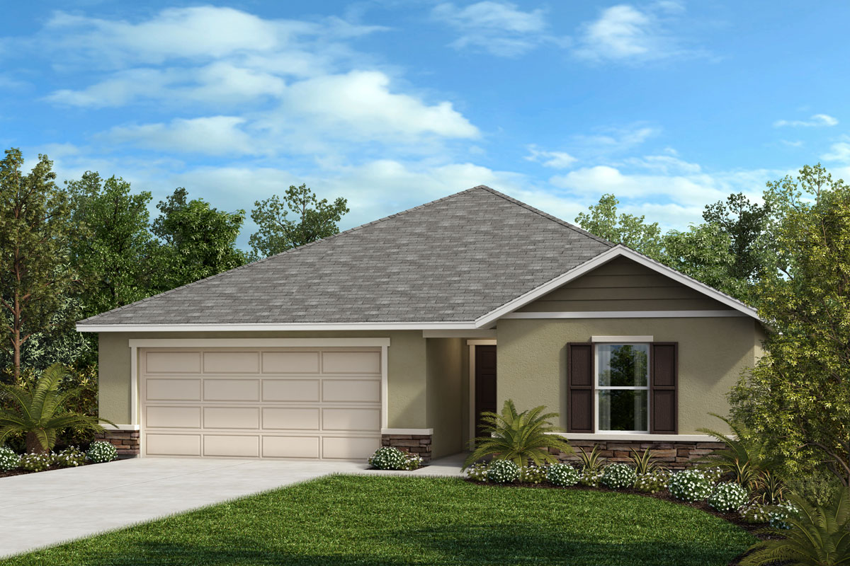New Homes in Kissimmee, FL - Elevation F with optional stone