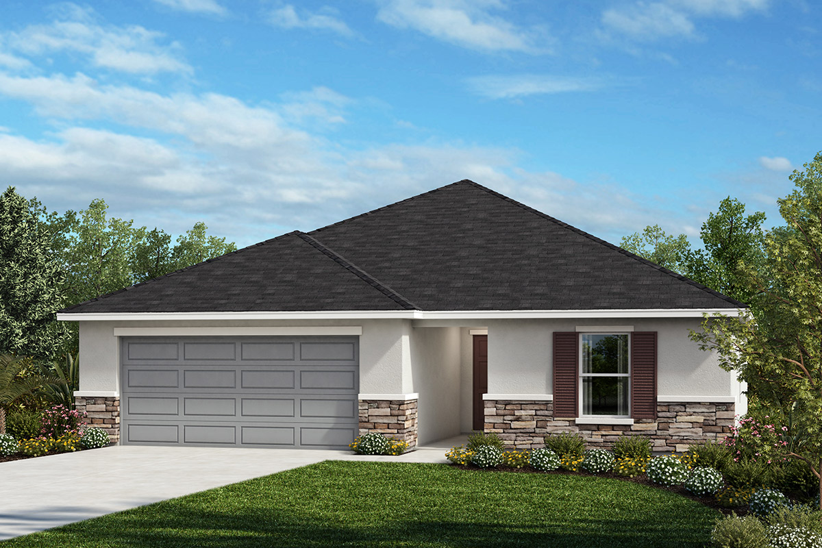 New Homes in Kissimmee, FL - Elevation A with optional stone