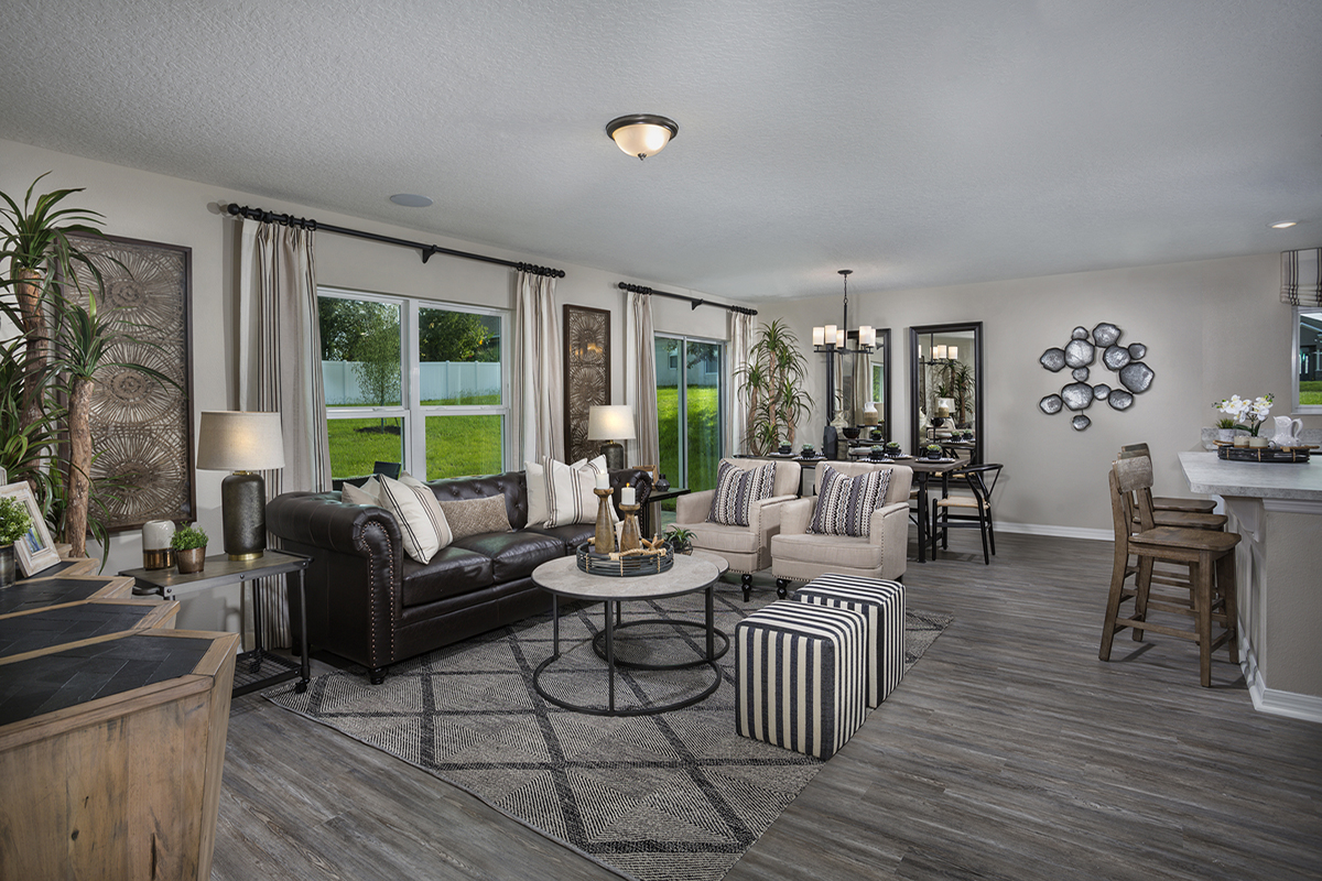 New Homes in Clermont, FL - The Sanctuary II Plan 1707 Great Room as modeled at Gardens at Lake Jackson Ridge