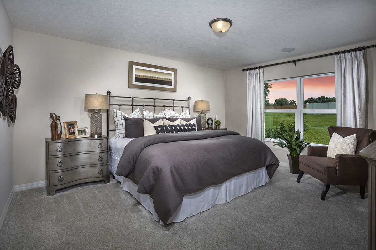 New Homes in Clermont, FL - The Sanctuary II Plan 1707 Master Bedroom as modeled at Gardens at Lake Jackson Ridge
