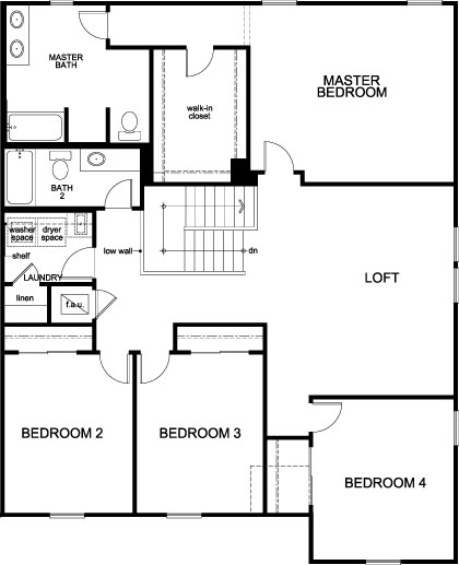 New Homes in St. Cloud, FL - Plan 3016, Second Floor