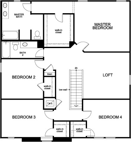 New Homes in Winter Haven, FL - Plan 2716, Second Floor