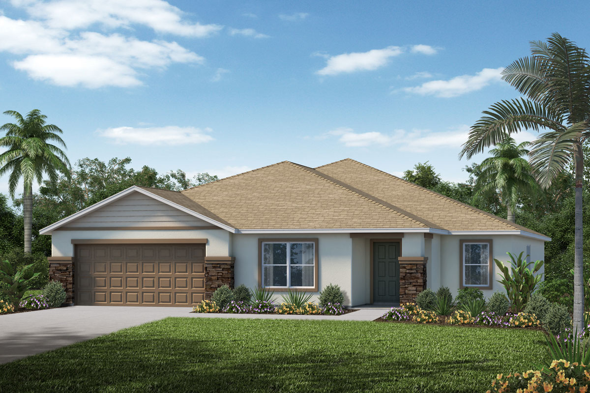 New Homes in Clermont, FL - Elevation A with optional stone