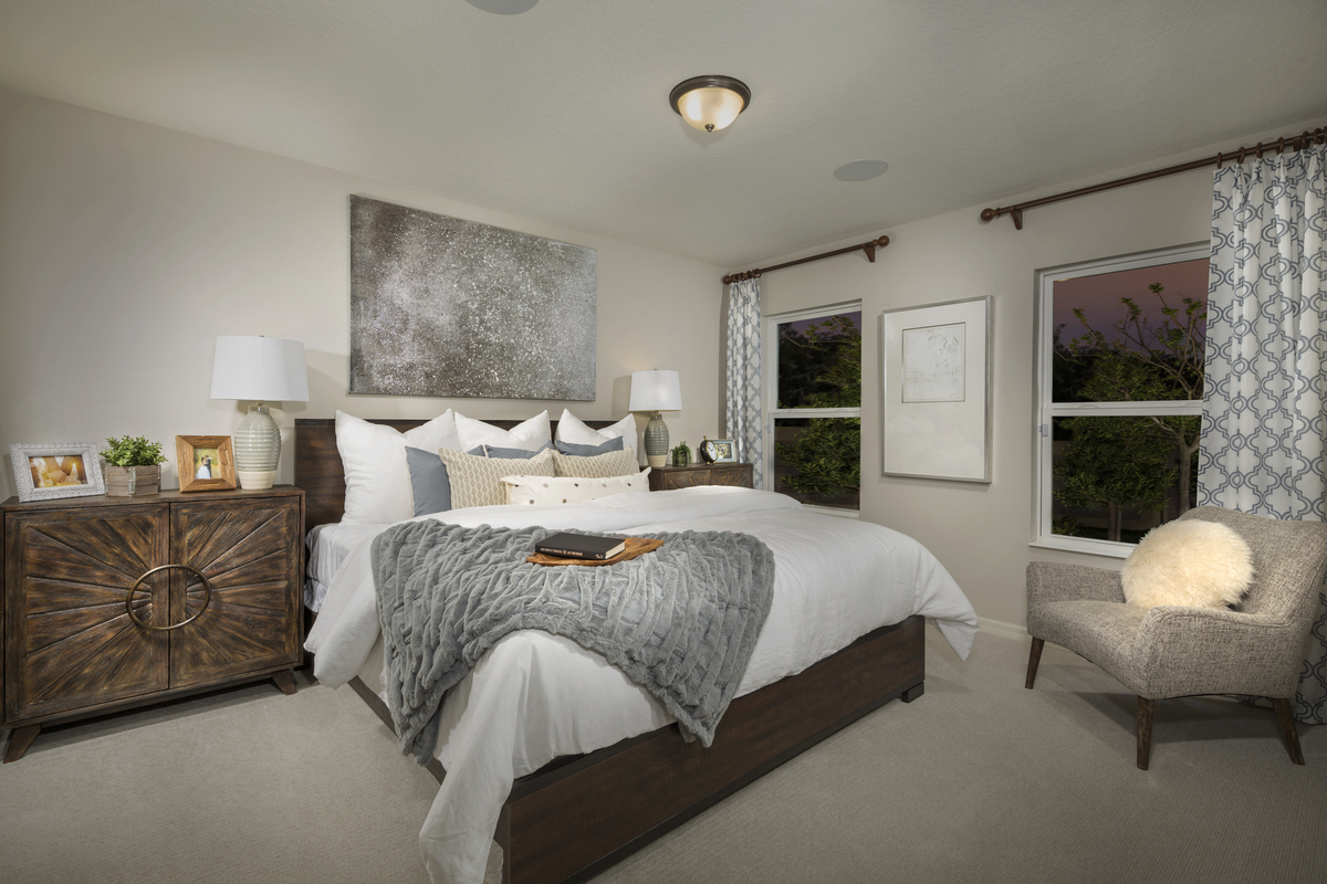 New Homes in Sanford, FL - Landings at Riverbend 1637 master bedroom as modeled at Gramercy Farms