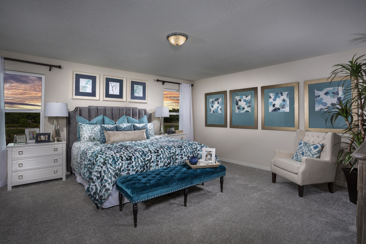 New Homes in Davenport , FL - Mirabella Plan 2107 Master Bedroom as modeled at Preservation Pointe