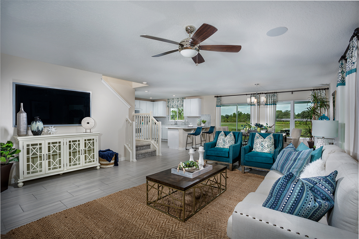 New Homes in Davenport , FL - Mirabella Plan 2107 Great Room as modeled at Preservation Pointe