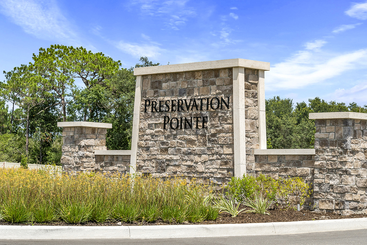 New Homes in Davenport, FL - Preservation Pointe Community Entry Wall