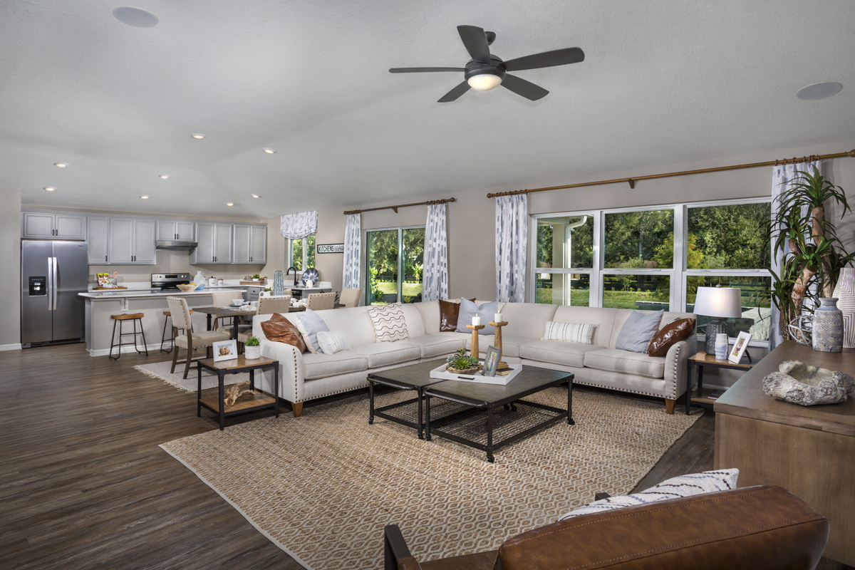 New Homes in Minneola, FL - The Reserve at Lake Ridge 2178 great room as modeled at Lake Minneola Landings