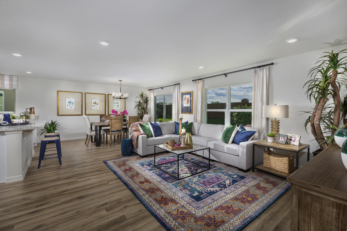 New Homes in Minneola, FL - The Reserve at Lake Ridge 1707 great room as modeled at Sawgrass Bay