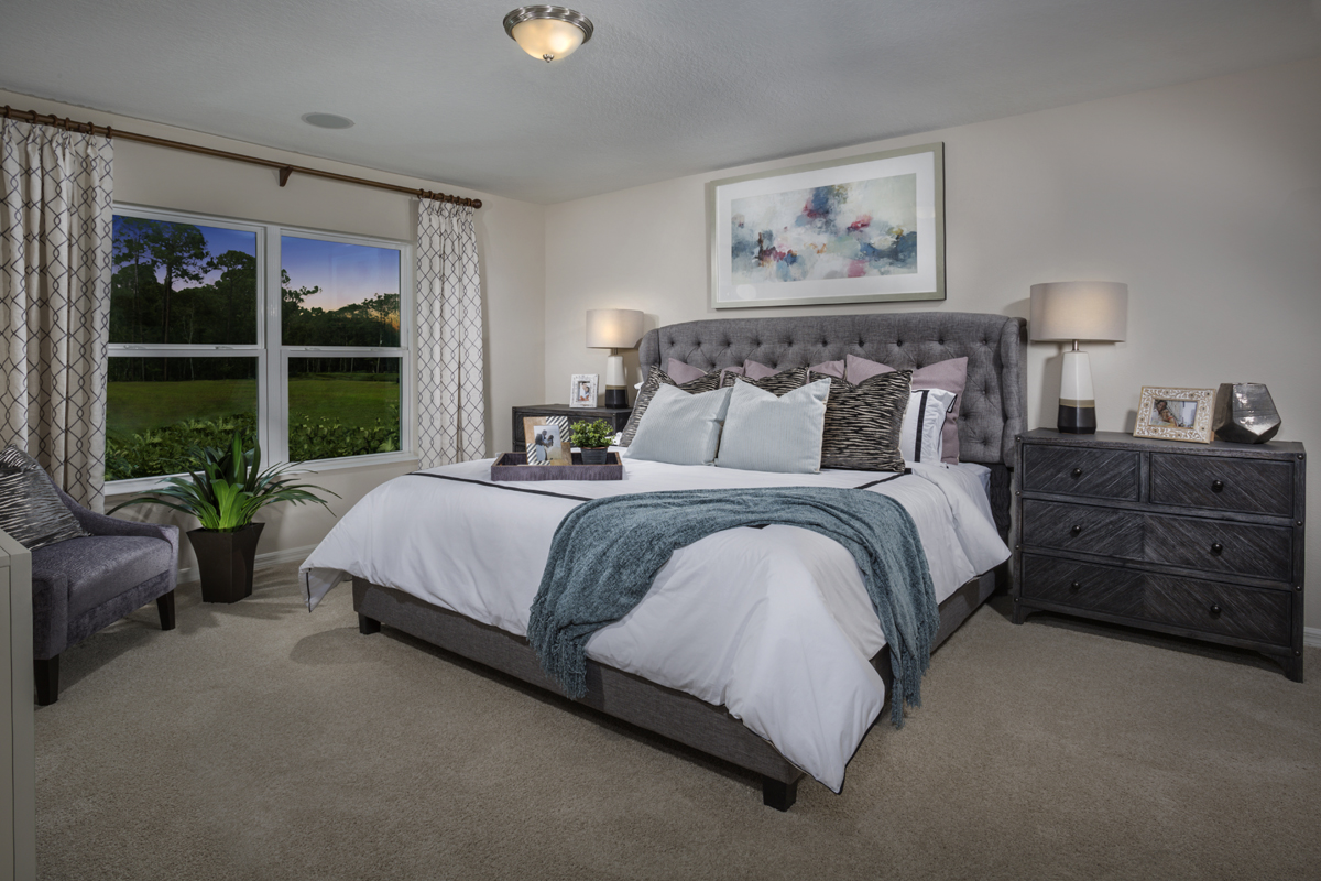 New Homes in Titusville, FL - Verona 1707 master bedroom as modeled at Cayden Reserve