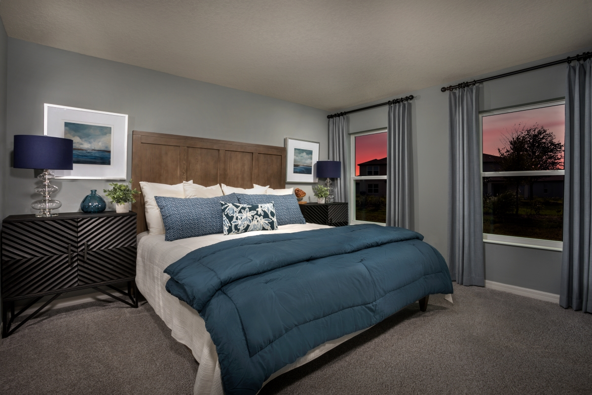 New Homes in Palmetto, FL - Heron Bay Plan 1637 Master Bedroom as modeled at Brightwood at North River Ranch