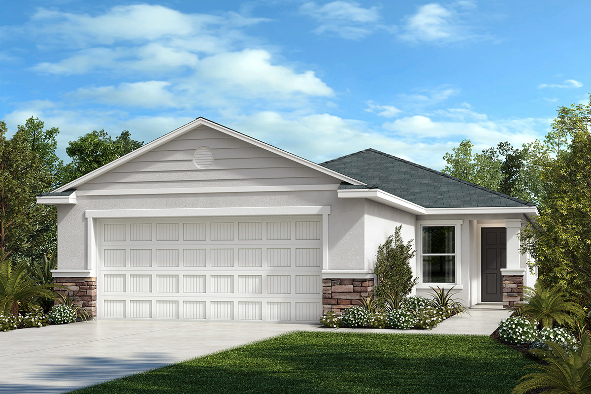 New Homes in Parrish, FL - 1637 Exterior Elevation F with Stone